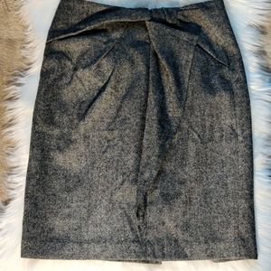 Faux Tie Front Wool Blend Pencil Skirt